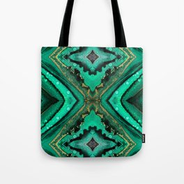 Malachite-inspired alcohol ink art with hints of emerald green, gold and black Tote Bag