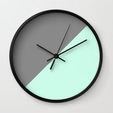 Grey and Mint Half Triangle Wall Clock