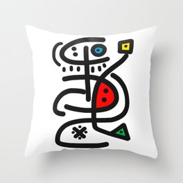 Graffiti Black and White Abstract Symbolic Man Video Game  Throw Pillow