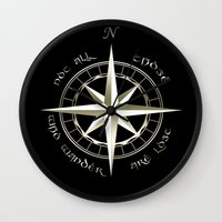gondor Wall Clocks featuring Not all those who wander are lost - J.R.R Tolkien - 2 by Augustinet