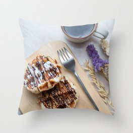 Waffles with black coffee Throw Pillow