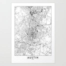 Austin White Map Art Print