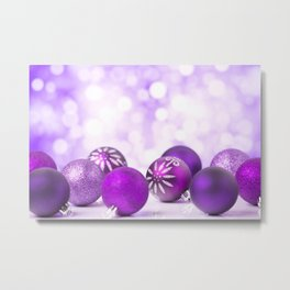 Purple Christmas scene with baubles Metal Print