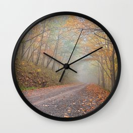 Misty Autumn Forest Road Wall Clock