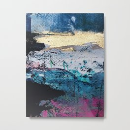 Twilight: a beautiful, abstract watercolor + mixed-media piece in blue, gold, purple, pink, + black Metal Print
