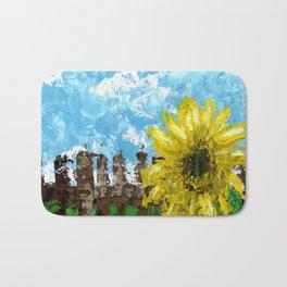 Fenced Sunflower Bath Mat