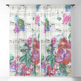 Musical Beauty - Floral Abstract - Piano Notes Sheer Curtain