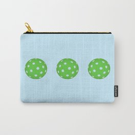 Pickleballs in a row. Green and Blue Carry-All Pouch