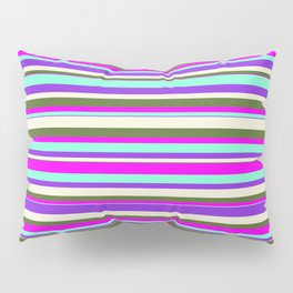 Vibrant Aquamarine, Purple, Beige, Dark Olive Green & Fuchsia Colored Stripes Pattern Pillow Sham