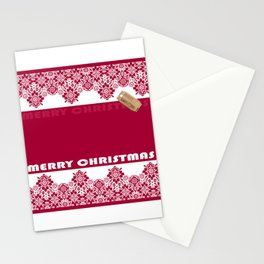 Merry Christmas ! Red lace pattern .Gift . Stationery Cards