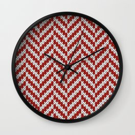 Realistic knitted herringbone pattern red Wall Clock