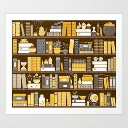 Book Case Pattern - Yellow Grey Art Print