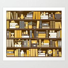 Book Case Pattern - Yellow Grey Art Print