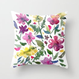 Tranquil Purple Pink and Yellow Watercolor Florals Throw Pillow
