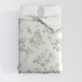 Elegant vintage green white roses shabby floral Comforters