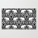 Elephant Damask Black And White Wall Tapestry By