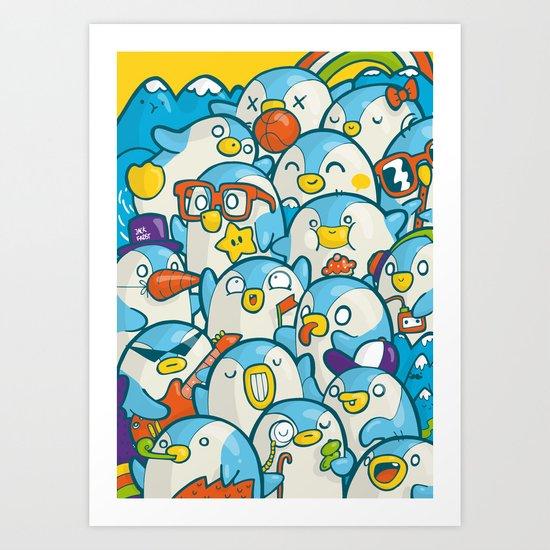 Penguin Crowd Art Print