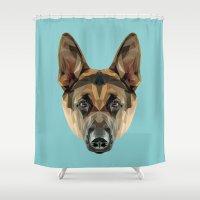 german shepherd Shower Curtains featuring German Shepherd // Blue by peachandguava