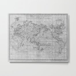 Black and White World Map (1799) Metal Print