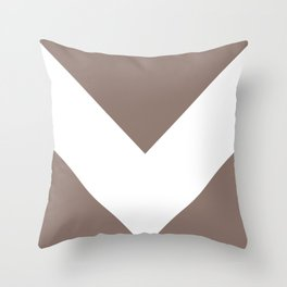 Large Taupe and White Chevron Throw Pillow