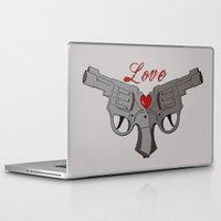 guns Laptop & iPad Skins featuring Love Guns by AnnaCas