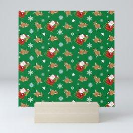 Santas Workshop Santa Reindeer Green Christmas Mini Art Print