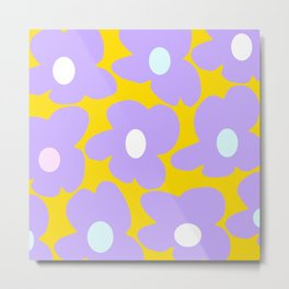 Large Baby Purple Retro Flowers Yellow Background #decor #society6 #buyart Metal Print