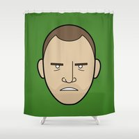 jesse pinkman Shower Curtains featuring Faces of Breaking Bad: Jesse Pinkman (Angry) by Rob Barrett — Nice Hot Cuppa