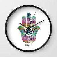 hamsa Wall Clocks featuring Hamsa  by Gabriel J Galvan