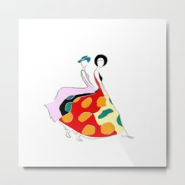 Abstract illustration of two girls Metal Print