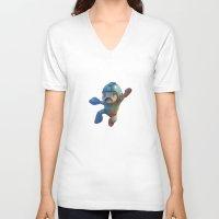 mega man V-neck T-shirts featuring Mega Man Jumping by jaimito