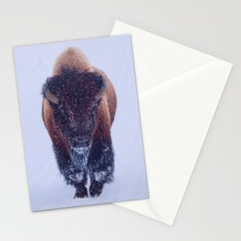 Bison Moving Through the Snow in Yellowstone National Park #Socety6 #bison Stationery Cards