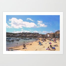 British Beach scene illustration, St Ives, English holiday resort Art Print