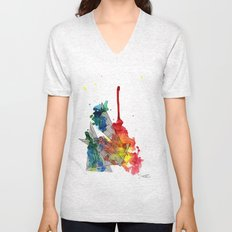Watercolor and Fine Liner Triangles Unisex V-Neck