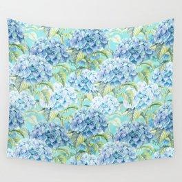 Blue floral hydrangea flower flowers Vintage watercolor pattern Wall Tapestry