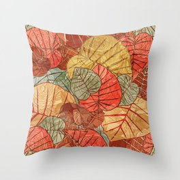 Leaves in Rosy Background 4 Throw Pillow