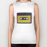 cassette Biker Tanks featuring Cassette by Michal