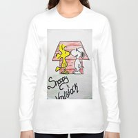 woodstock Long Sleeve T-shirts featuring Snoopy and Woodstock by BritniSimone