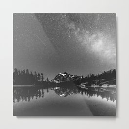Summer Stars Black and White - Galaxy Mountain Reflection Metal Print