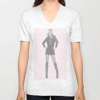 britney V-neck T-shirts featuring Britney by Dora Birgis