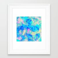 ice Framed Art Prints featuring Electrify Ice Blue by Amy Sia