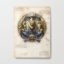 Alliance crest sigil symbol wow da vinci style artwork Metal Print