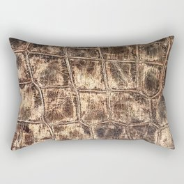 Alligator Skin // Tan and Brown Worn Textured Pattern Animal Print Rectangular Pillow
