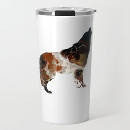 Brown Fluid Wolf Image Art Design Travel Mug