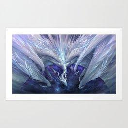 White Crystal Dragon Art Print
