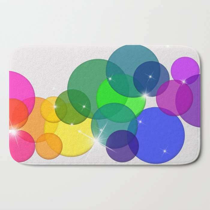 Translucent Rainbow Colored Circles with Sparkles - Multi Colored Bath Mat