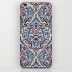 Botanical Moroccan Doodle Pattern in Navy Blue, Red & Grey iPhone & iPod Skin