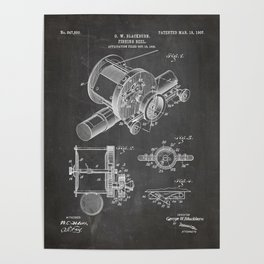 Fishing Reel Patent - Fishing Rod Art - Black Chalkboard Poster