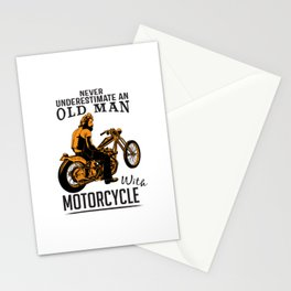 Never Underestimate An Old Man With A Motorcycle Stationery Cards