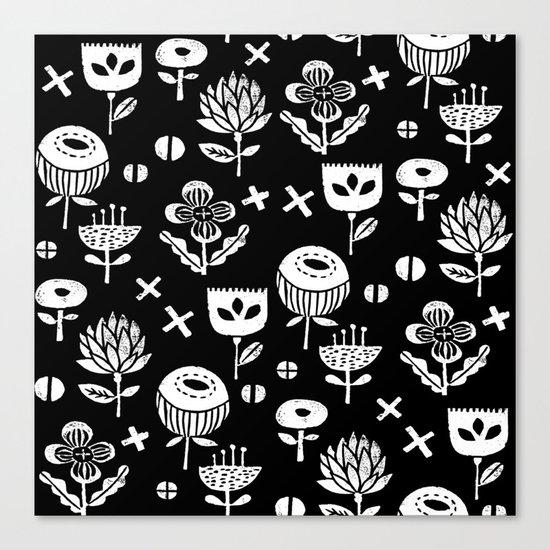 Linocut floral florals minimal scandinavian minimalist art print pattern black and white Canvas Print